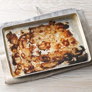 Baked on food residue; baking greese on pan; Burnt food on baking sheet