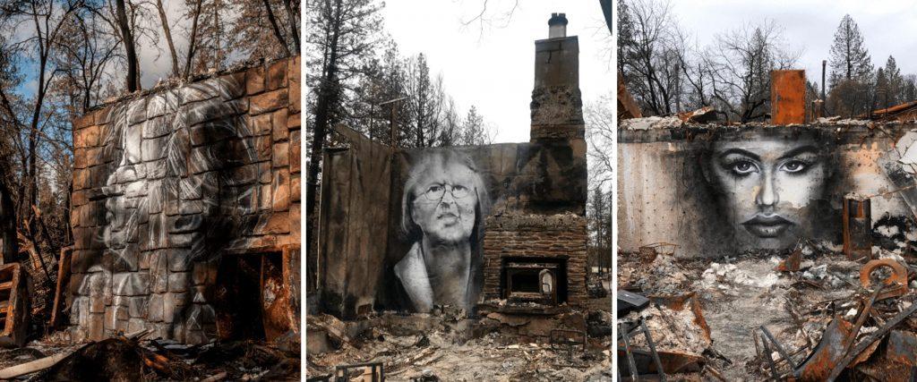Shane Grammer spray paint paintings art Paradise California wildfire