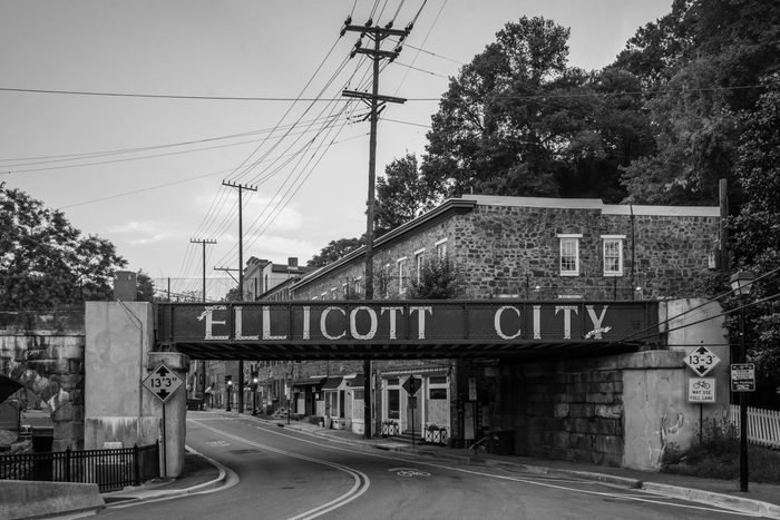 Ellicott City sign on train bridge, in Ellicott City, Maryland