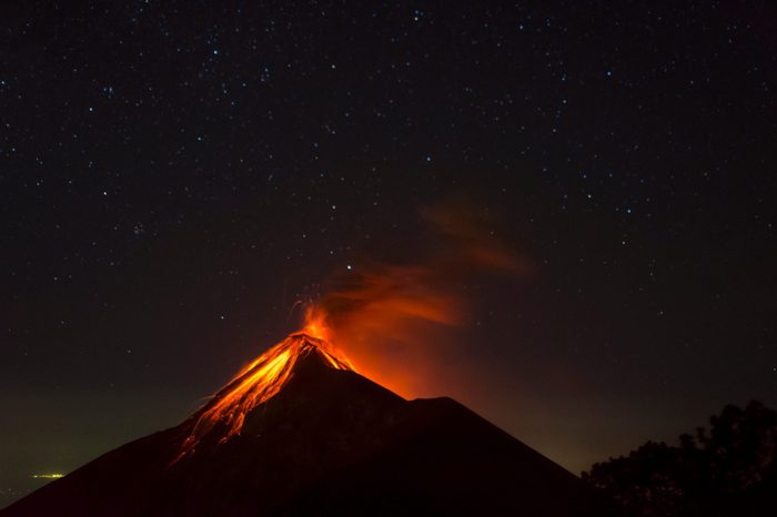Fuego Volcano erupting, seen from Acatenango volcano, Guatemala
