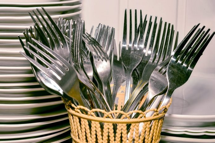 Stack Of Plates And Spoons