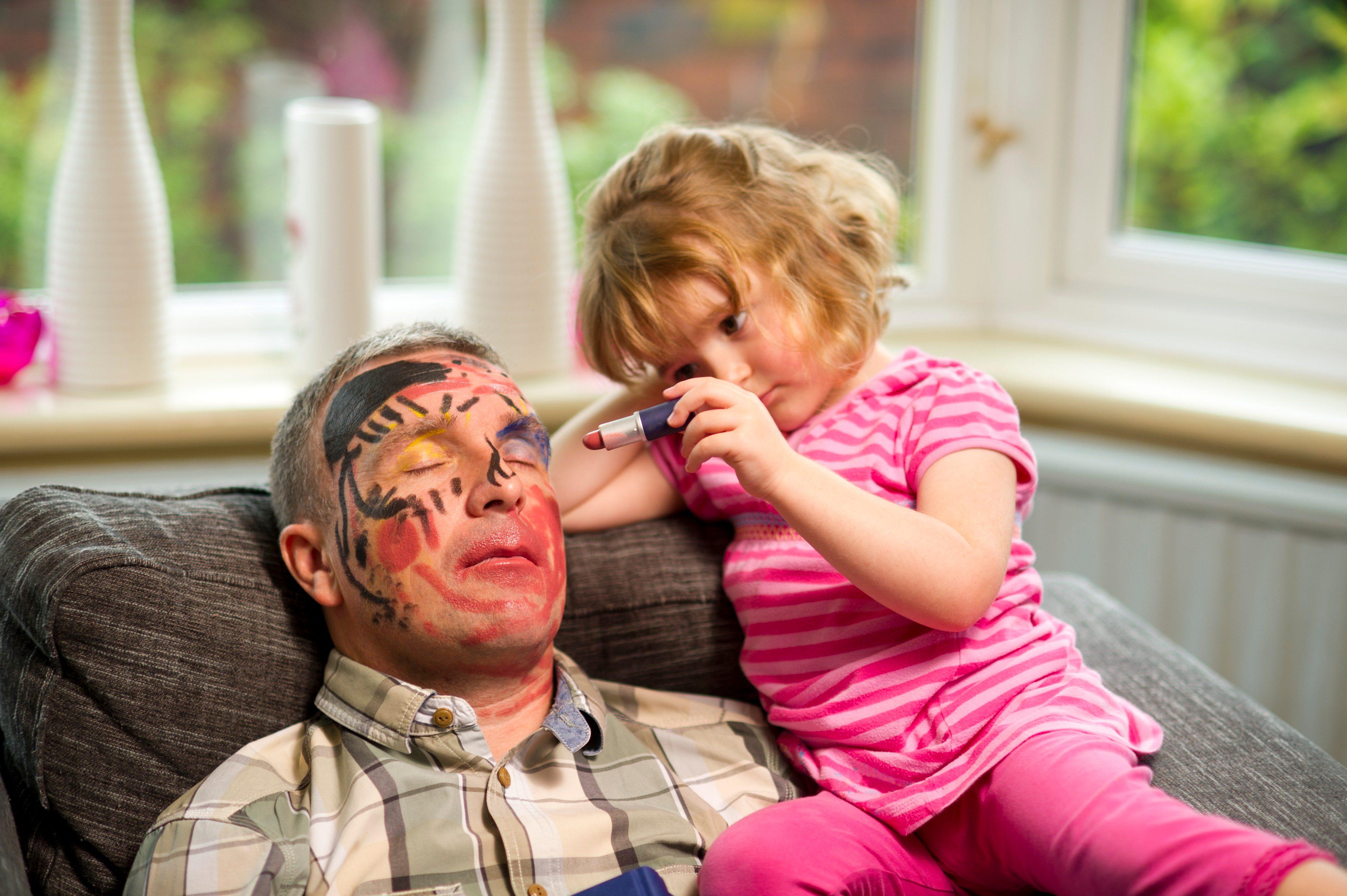 drawing on sleeping dad