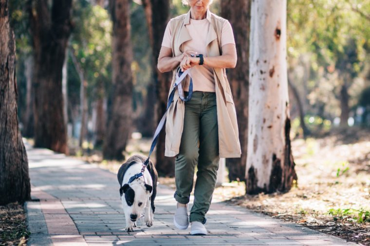 mature woman enjoying walk in nature with dog and checking texts on smartwatch