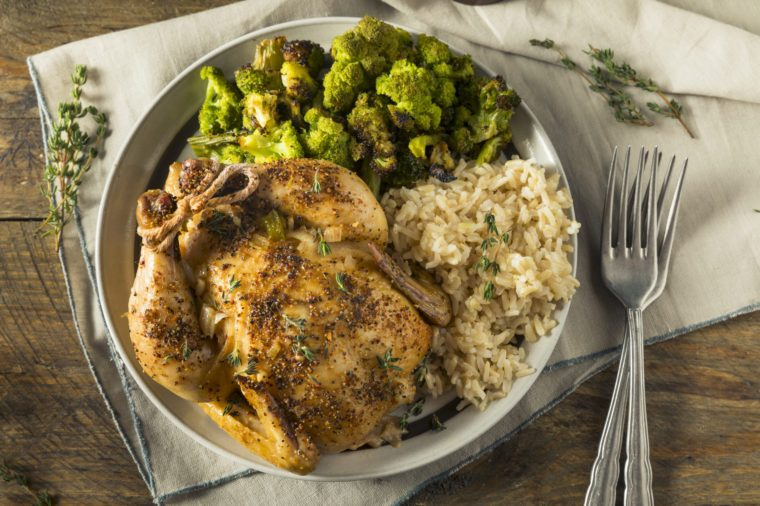 Herby Baked Cornish Game Hens with Rice and Veggies