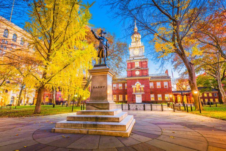 Philadelphia, Pennsylvania, USA at historic Independence Hall during autumn season.