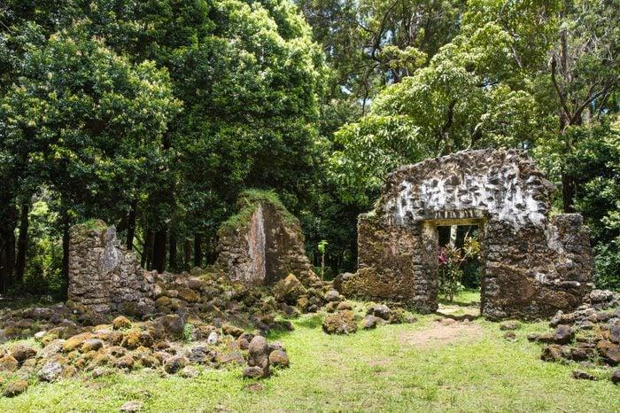 Kaniakapupu Ruins, Oahu, Hawaii. King Kamehameha III's summer home, hidden in the Nu'uanu forest region.