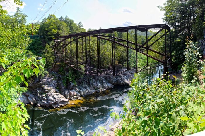 Livermore Falls in New Hampshire is a spot that only locals know about. It is nearby the favorite rock climbing spots of Rumney so climbers and hikers alike can be found bathing and jumping.