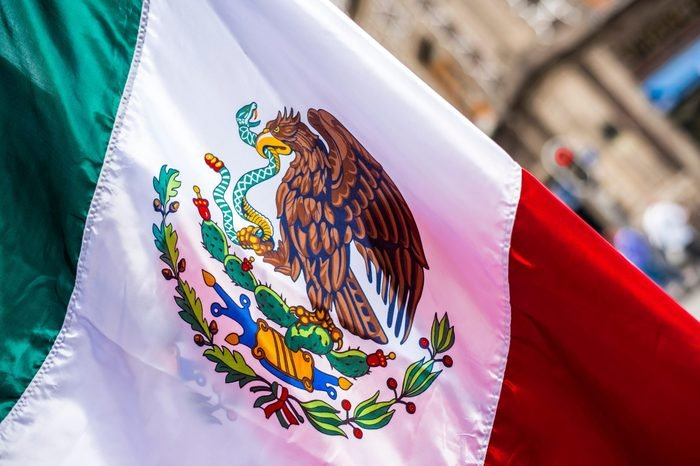 Flag of Mexico in the streets of Mexico City, Independence day, cinco de mayo celebration