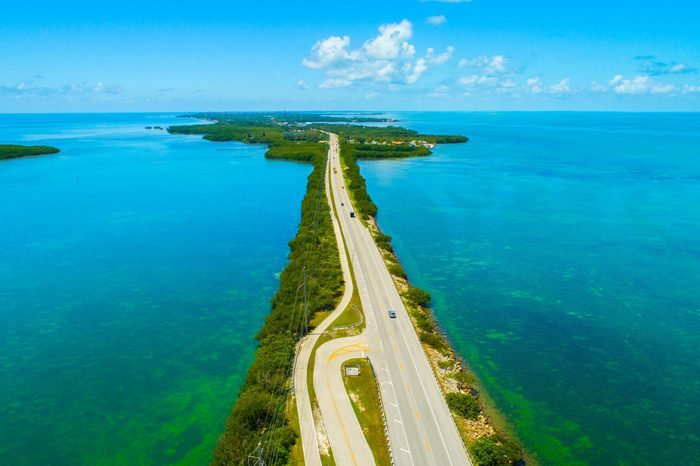 Overseas highway to Key West island, Florida Keys, USA. Aerial view beauty nature.
