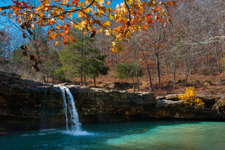 Fall foliage at Falling Water Falls in Ozark National Forest, Arkansas