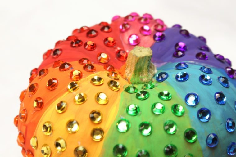 Rainbow Rhinestone Sparkle Halloween Pumpkin Craft DIY
