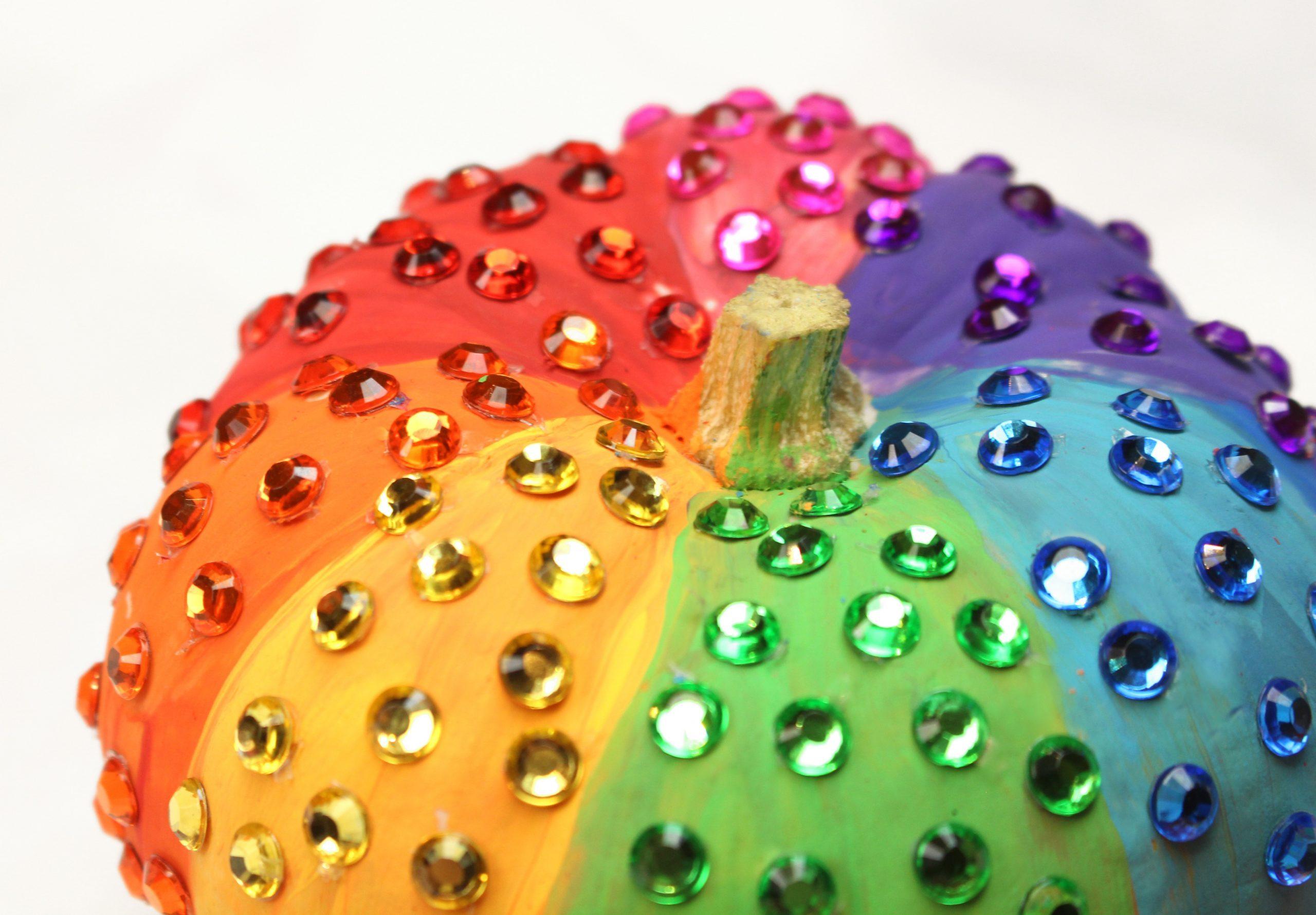 Rainbow Rhinestone Sparkle Halloween Pumpkin Craft DIY