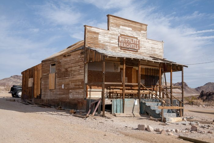 Rhyolite Mercantile, Abandoned shop in Ghost town Rhyolite, Nevada, USA