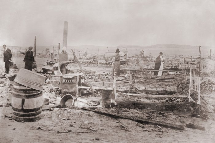 Ruins Ludlow Colony after the killing of 19 people, including women and Children, in a Colorado National Guard attack on a tent city of striking coal miners at Trinidad, Colorado on April 20, 1914.