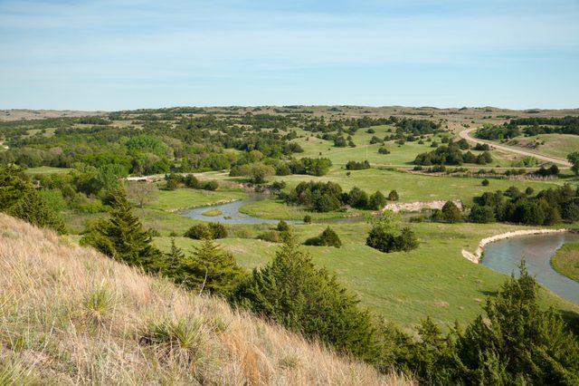 Sandhillls in Nebraska from scenic overlook.