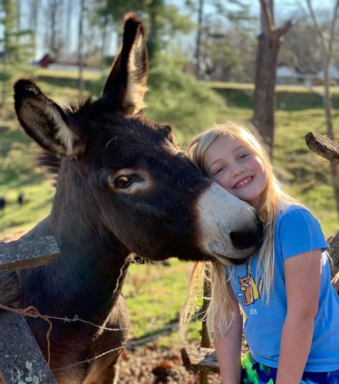 girl posing with donkey with their heads together