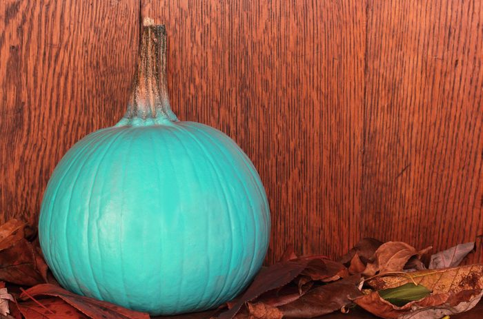 Teal pumpkin, raising awareness for food allergies for Halloween, signifying non-food treats are available