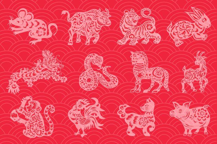 chinese zodiac symbols on red background
