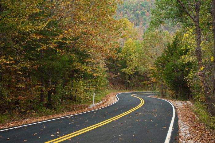 The Ozark Mountain side in fall.