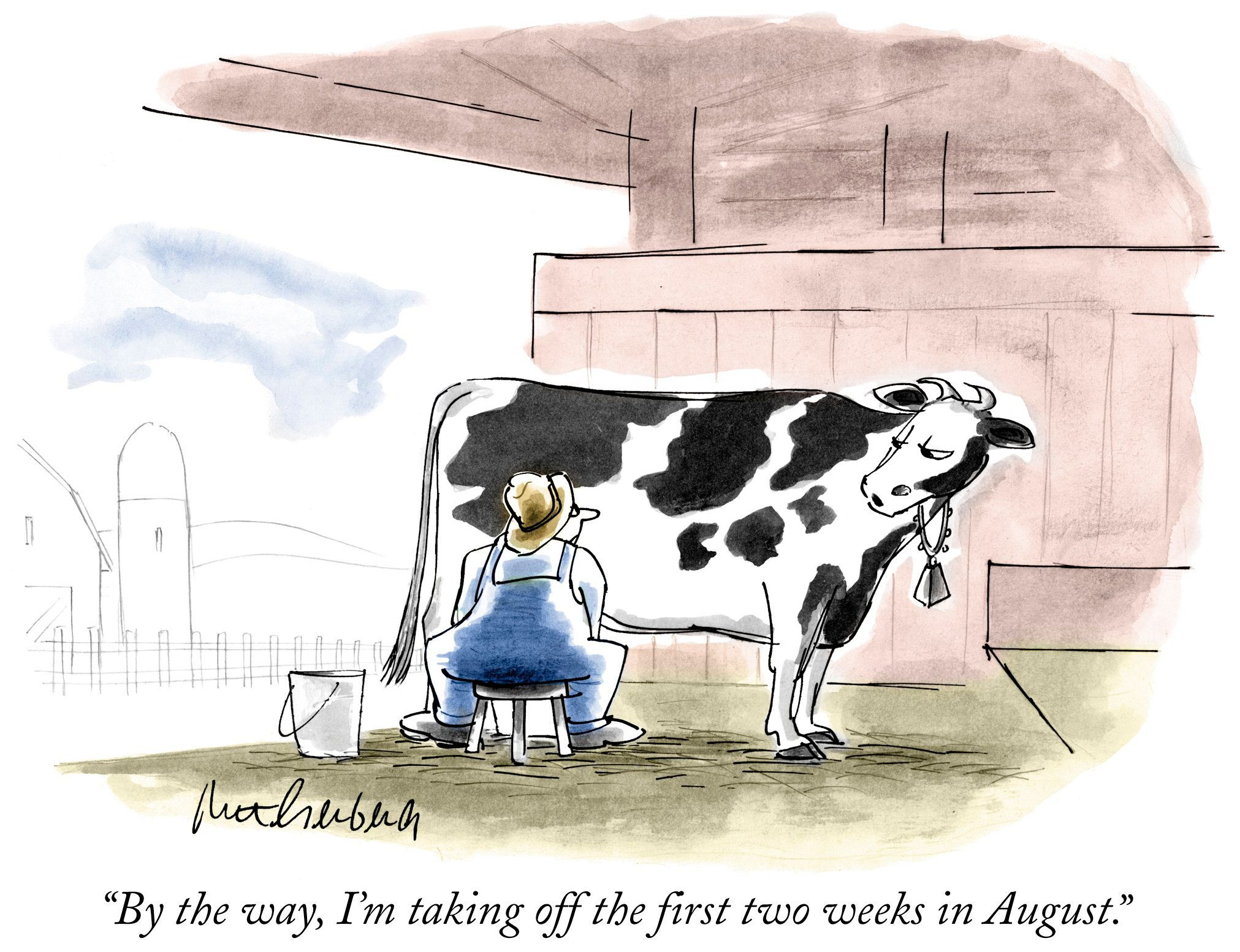 cow wants to take vacation days cartoon