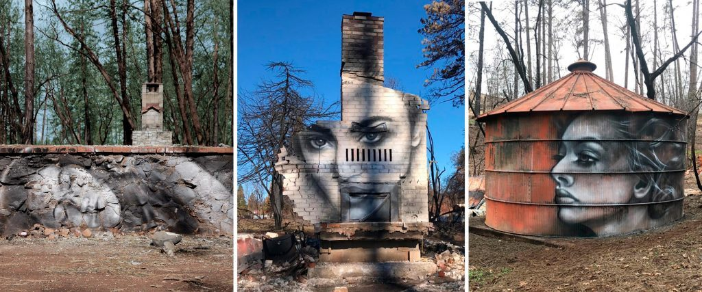 Shane Grammer spray paint art Paradise California wildfire