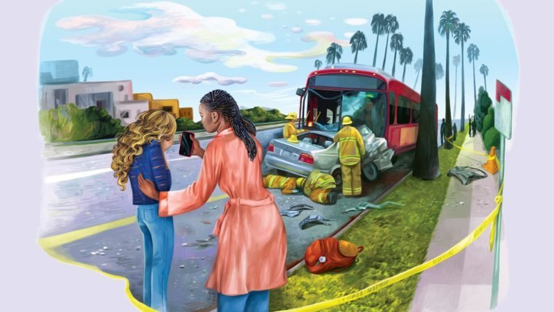 Bus crash angel illustration by Gel Jamlang