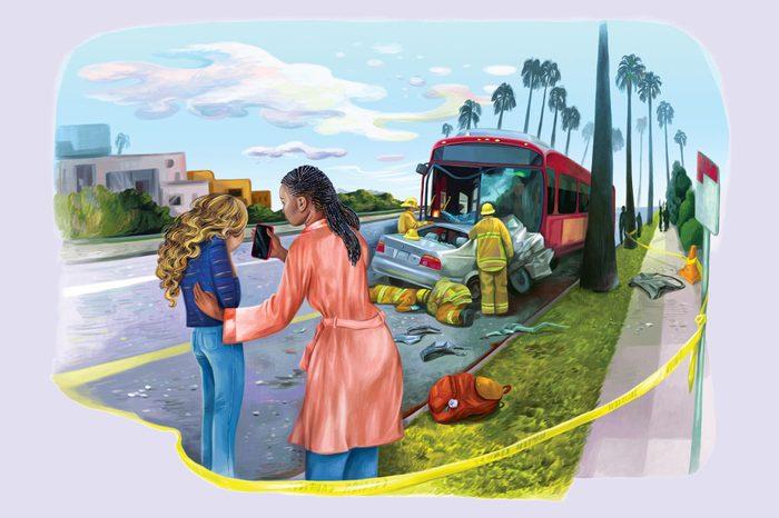 Bus crash angel illustration by Gel Jamlang