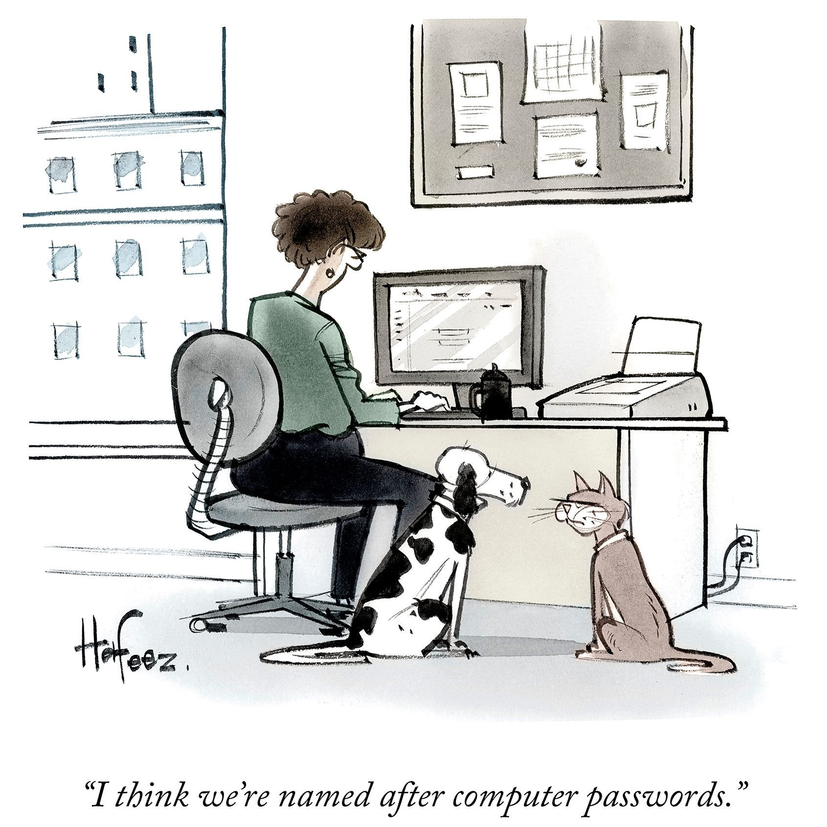 dog and cat think they're named after passwords cartoon