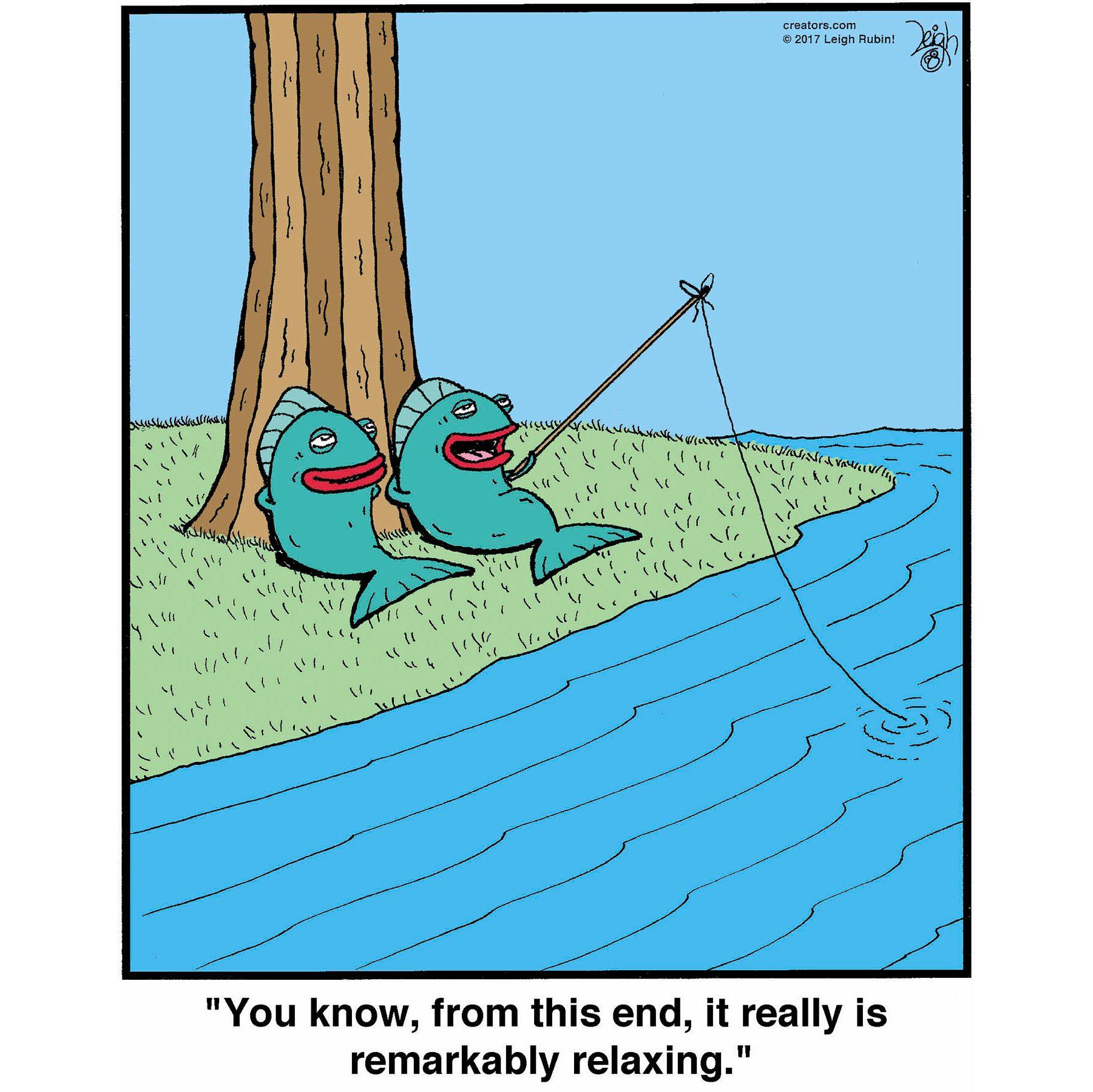 fish fishing cartoon by Leigh Rubin