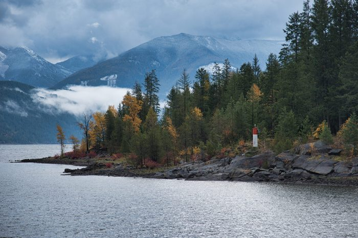 View from the Kootenay Lake Ferry on a stormy fall day