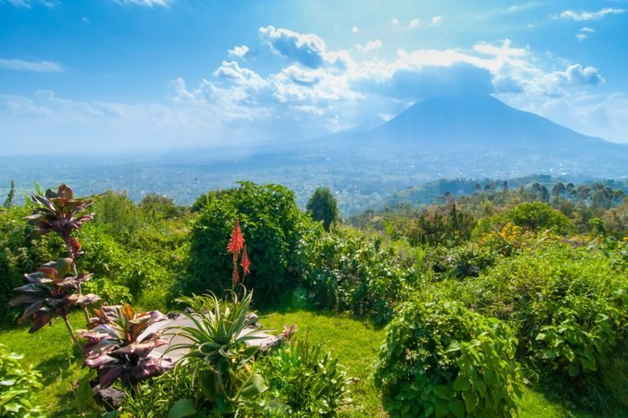 View of mount Sabyinyo, one of the volcanoes in the Volcanoes National Park in Rwanda