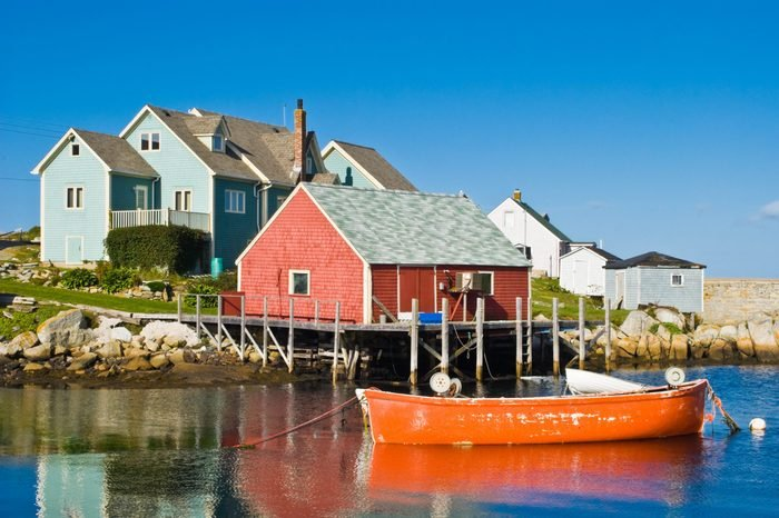 Fisherman's house and boats in a bay. Peggy's cove, Canada.