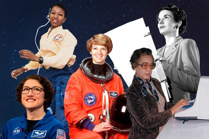 Women Of Nasa collaged against a starry sky background