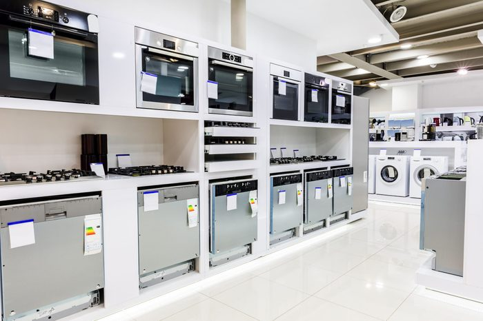 Gas and electric ovens and other home related appliance or equipment in the retail store showroom