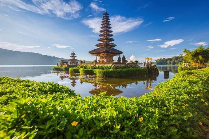 Pura Ulun Danu Bratan, or Pura Beratan Temple, Bali island, Indonesia. Pura Ulun Danu Bratan is a major Shivaite and water temple on Bali island, Indonesia.