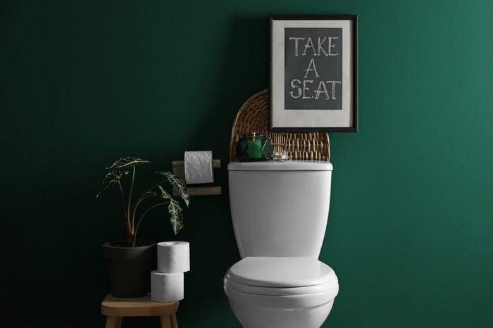 Decor elements, paper rolls and toilet bowl near green wall. Bathroom interior