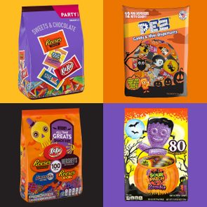 four halloween candy variety packs on bright colored backgrounds