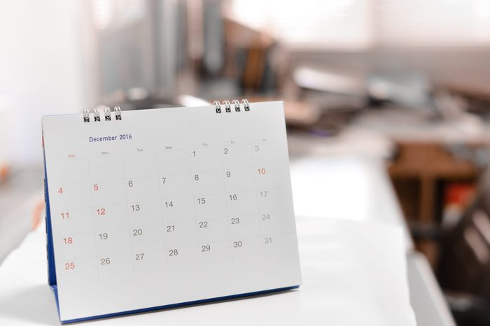 Blurred calendar page in smooth tone.