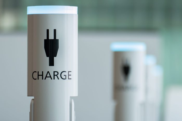 Electronic device charging station at the airport