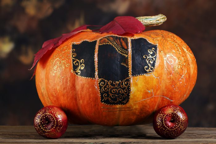 close-up of a pumpkin carriage for Cinderella
