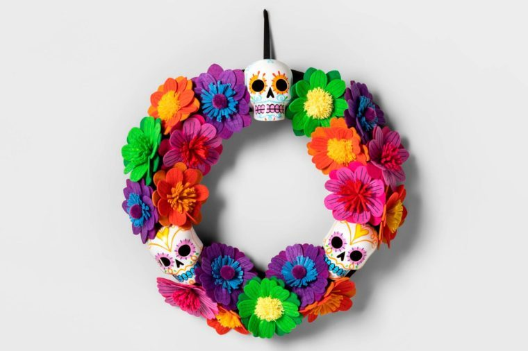 target spooky halloween decor decorations wreath day of the dead skulls flowers
