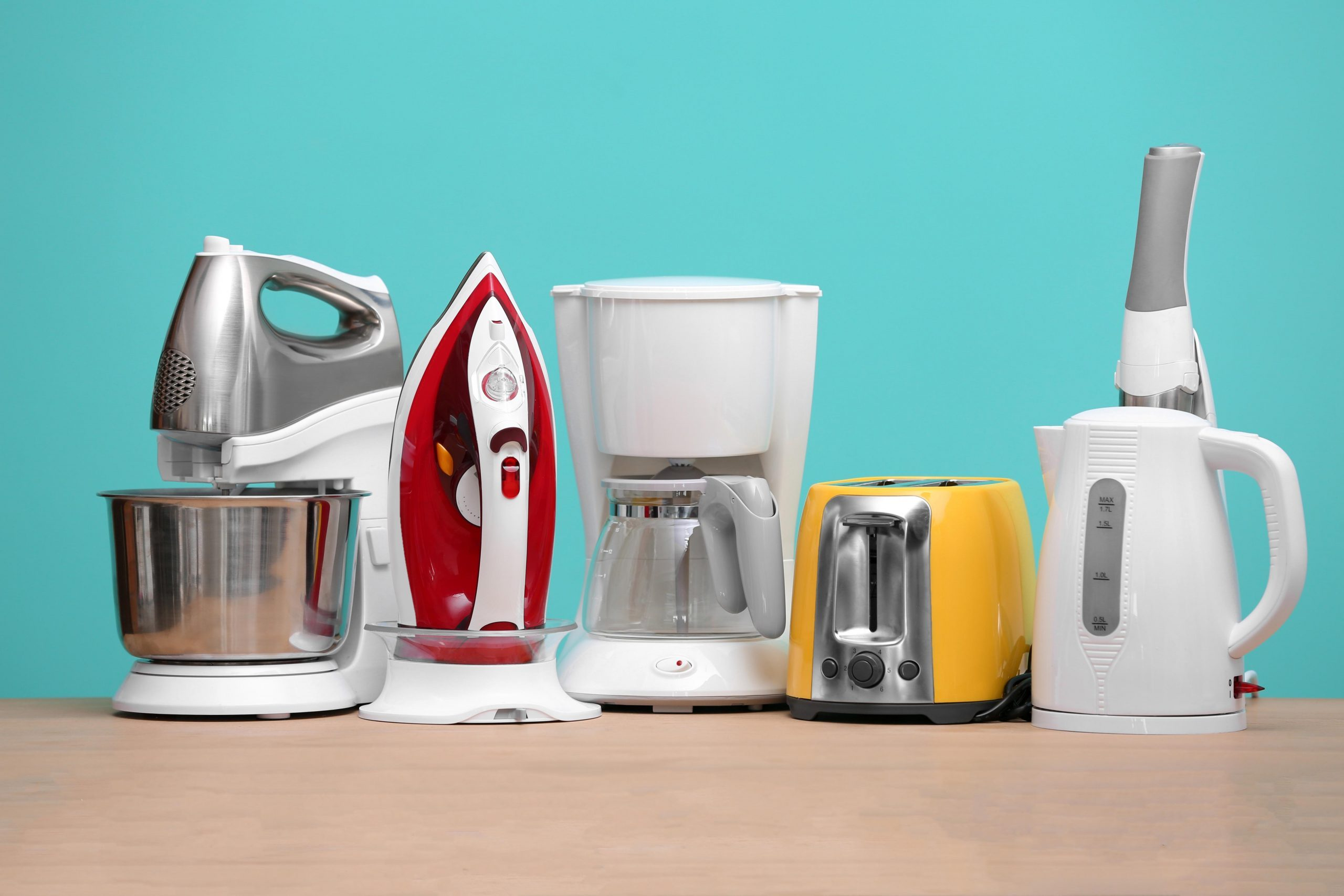 new appliances on blue background