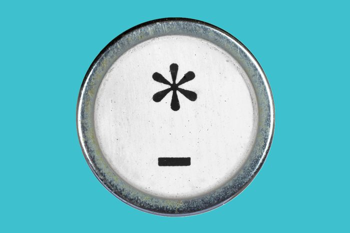typewriter button key star dash em en