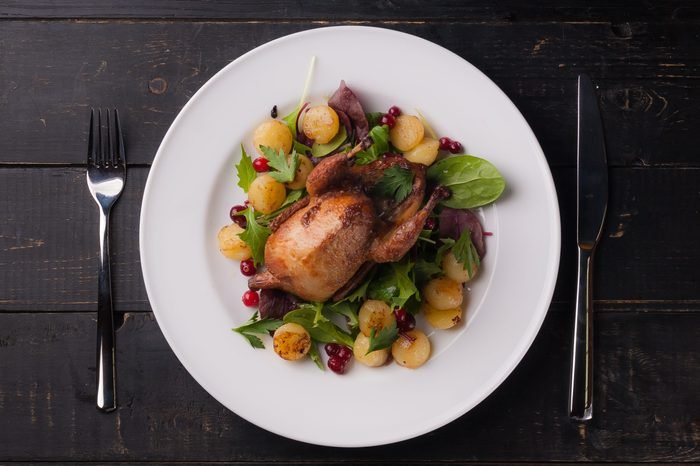 fried quail with cranberries