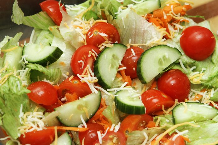 summer salad with cucumber, tomato and cheese