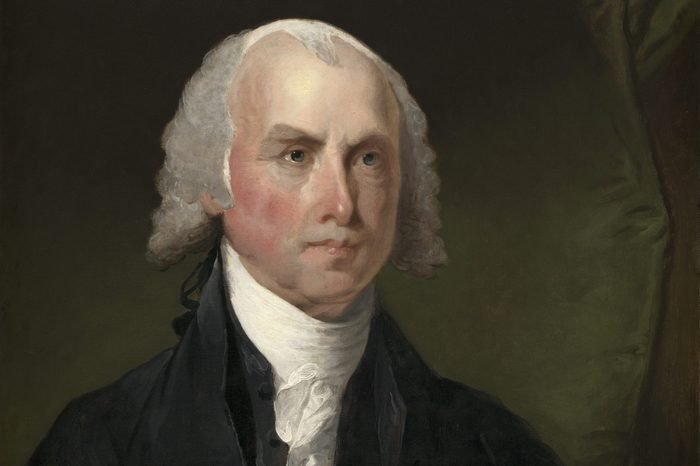 James Madison, by Gilbert Stuart , 1821, American painting, oil on canvas. Colonel George Gibbs, Rhode Island, commissioned Stuart to paint five American Presidents in the 1820s. This Madison portrai