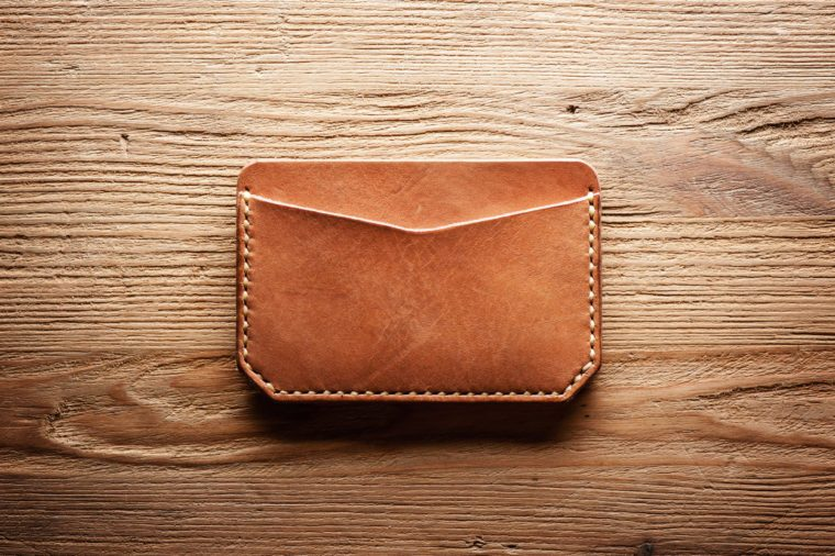 men's leather accessory, handmade vegetable tanned leather minimalist wallet