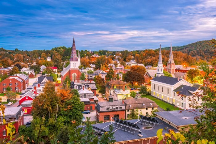 Montpelier, Vermont, USA town skyline in early autumn.