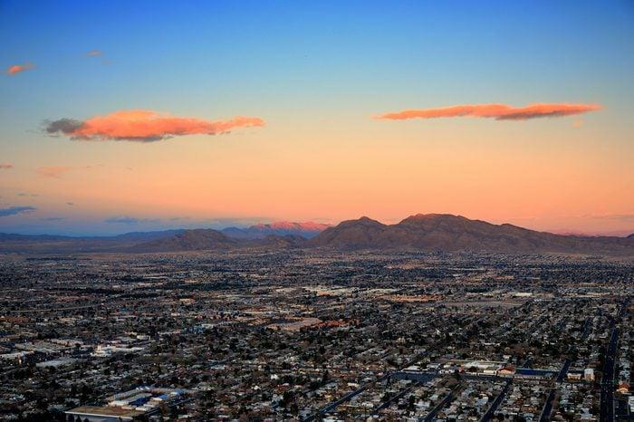 Las Vegas city aerial view panorama sunset with mountain