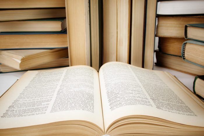 Books , selective focus on nearest part of